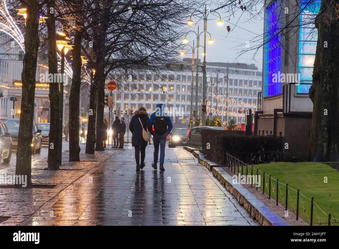 Pohjois-Esplanadi Street in the Evening in Helsinki Finland Stock Photo