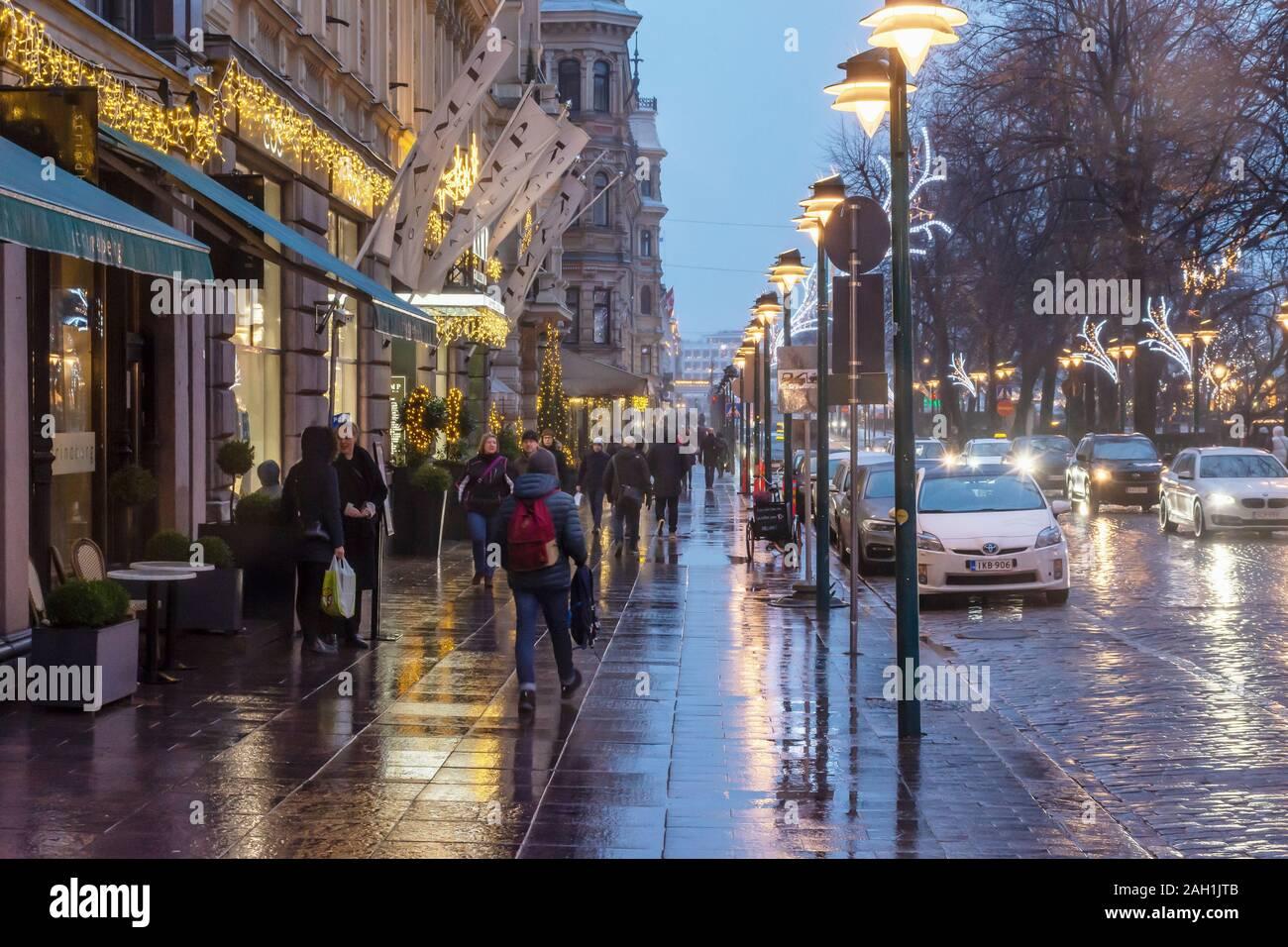 Pohjois-Esplanadi Street in Christmas Decoration in Helsinki Finland Stock Photo