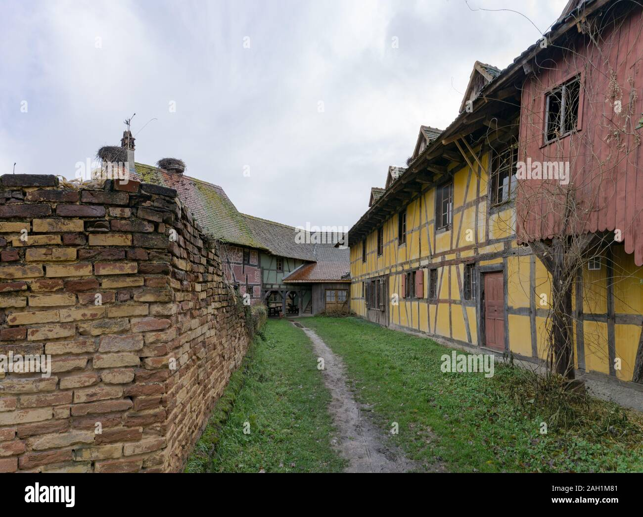 Ungersheim, Haut-Rhin / France - 13. December, 2019: view of historic half-timbered houses in the Alsace region of France Stock Photo