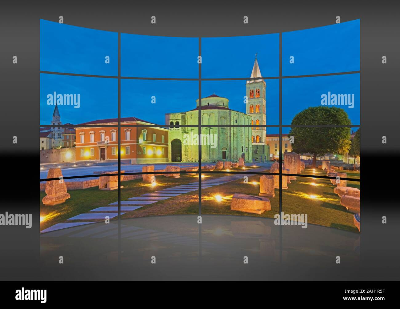 A curved wall. 16 small pictures give a whole picture. The Forum, city marketplace, located in front of the church of Saint Donat and the Saint Anasta Stock Photo