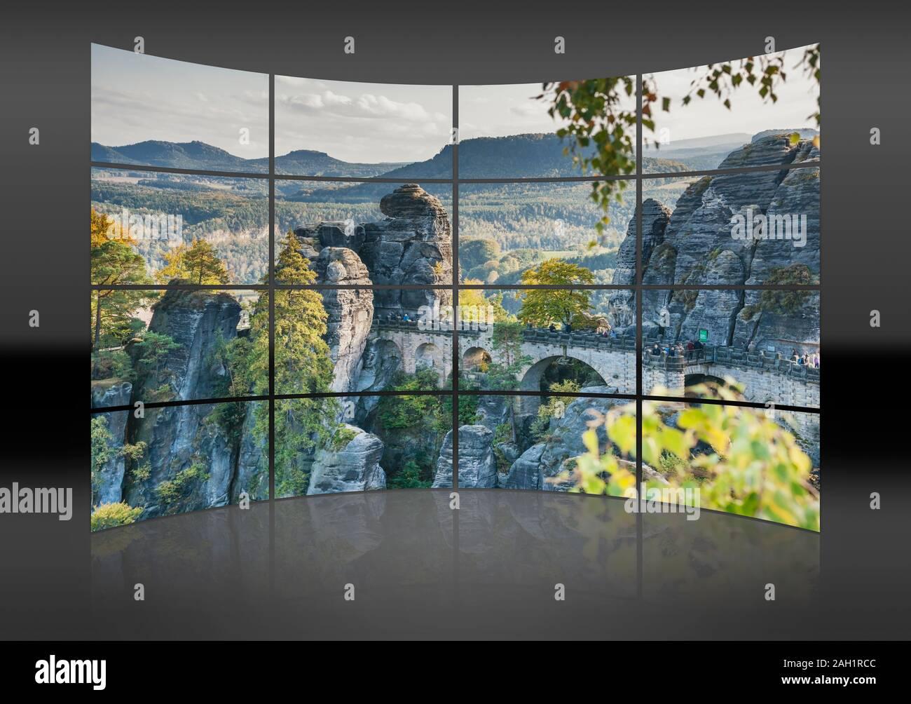 View from Ferdinand stone to the spectacular rock formation Bastei (Bastion) and Bastei Bridge, Saxony, Germany, Europe Stock Photo