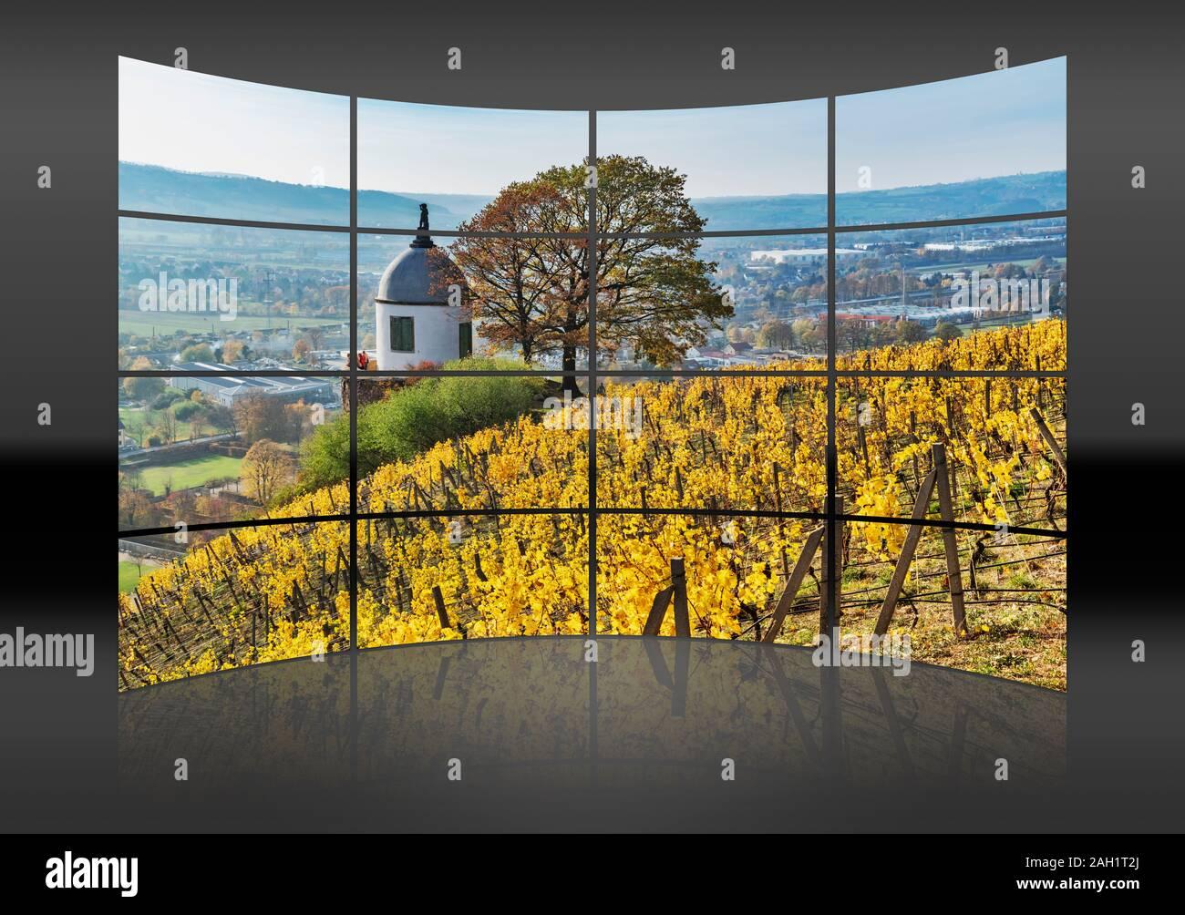 The Jacobstein is a vineyard gazebo in Radebeul, Saxony, Germany, Europe Stock Photo