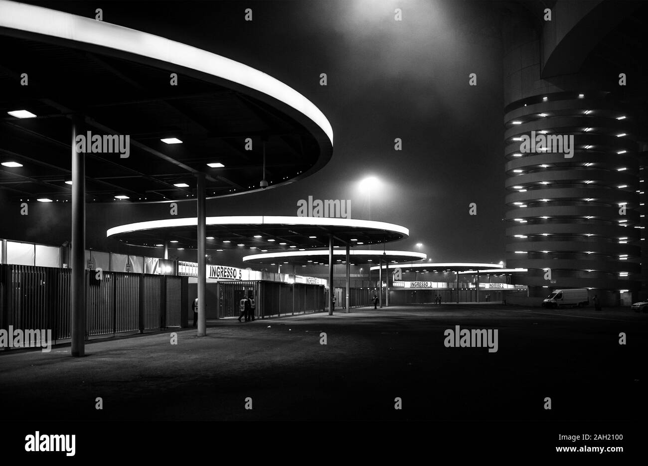 "Milan Italy , 08 december 2013, ""Giuseppe Meazza - San Siro"" Stadium : The San Siro stadium at night Stock Photo"