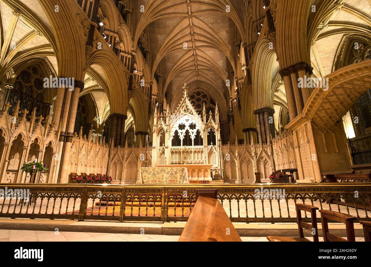 Altar area inside Lincoln Cathedral, Lincolnshire, UK Stock Photo