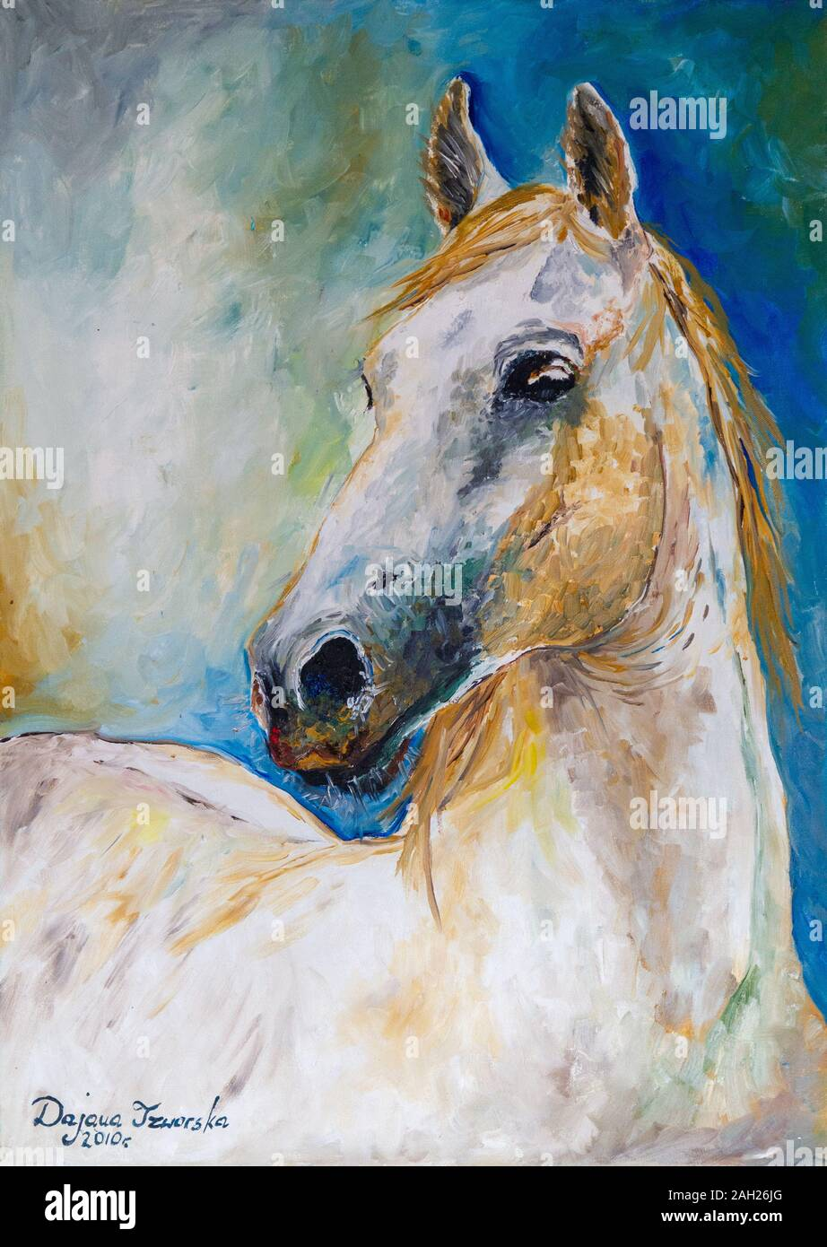 A Painting Of A White Horse Stock Photo Alamy