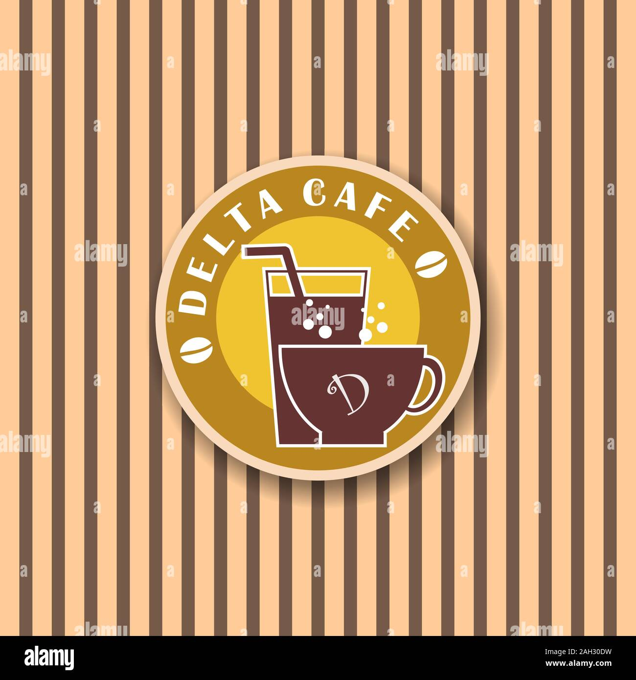 Delta Cafe Logo Design Concept Logo Template For Cafe Or Coffee Shop Food Drink Juice Cups Icon Brown Ellipse Shape Stock Vector Image Art Alamy