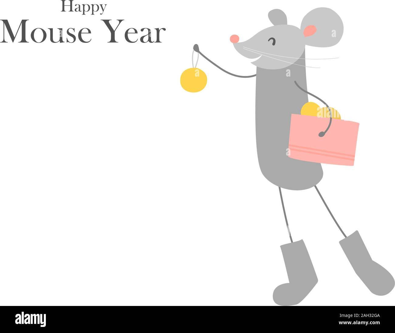 Symbol of chinese new year 2020. Rat. Funny happy smiling mouse in felt boots with balls. Christmas tree decoration. Vector illustration isolated on Stock Vector