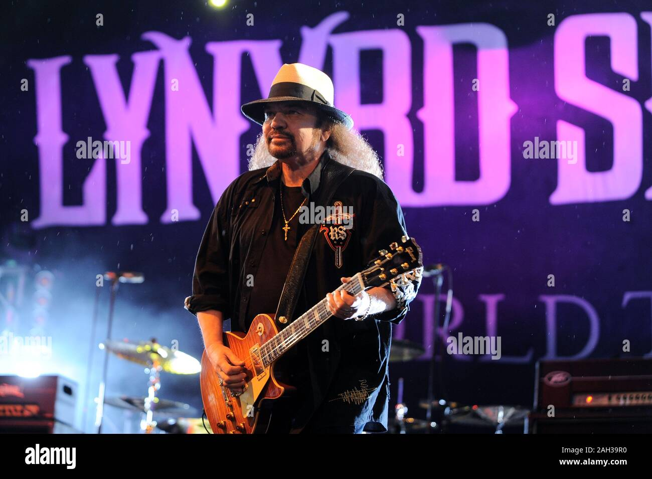 Vigevano Italy, from 13 June to 24 July 2012, live concerts Festival of Vigevano: the guitarist of Lynyrd Skynyrd, Gary Rossington Stock Photo