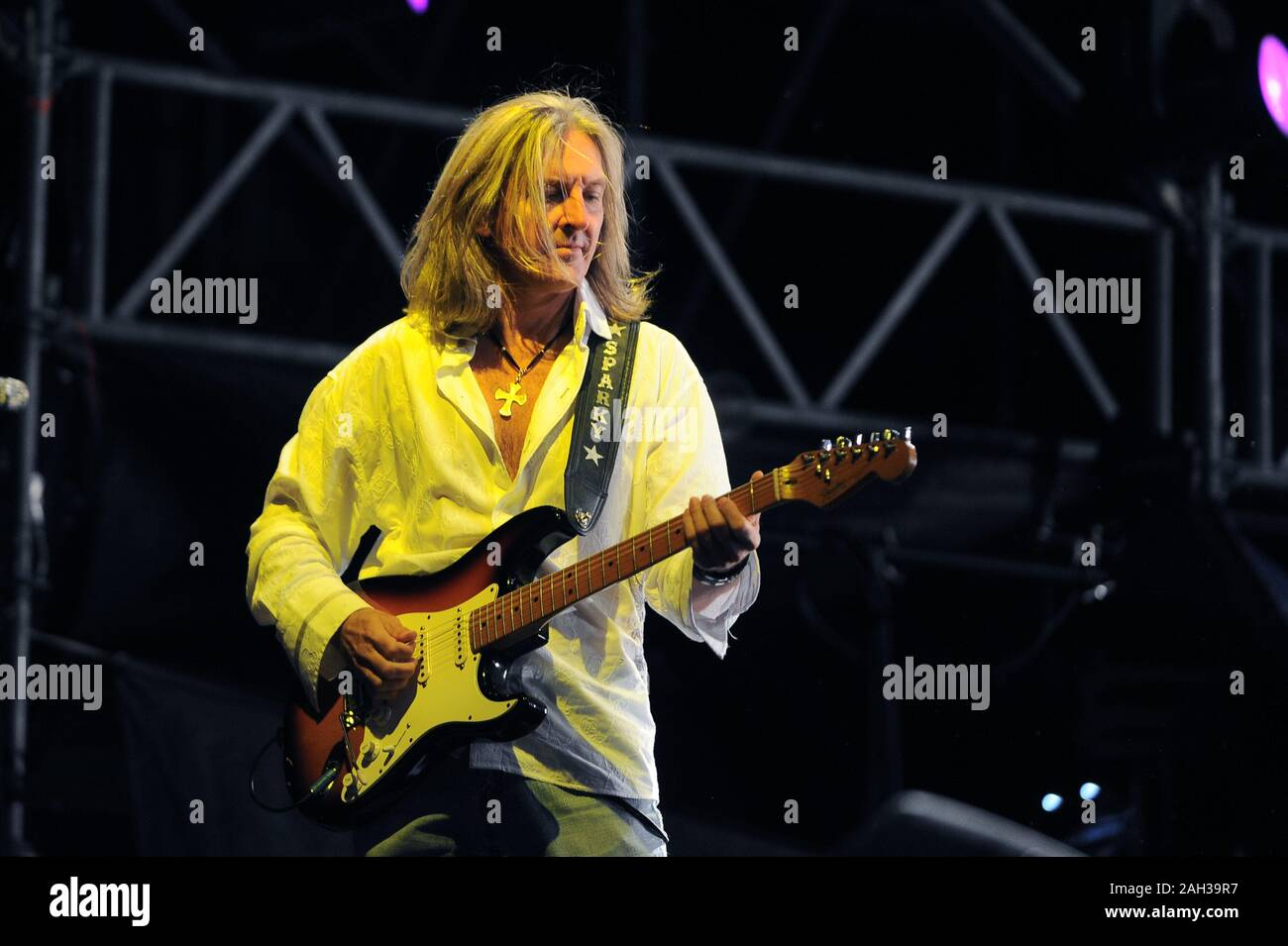 Vigevano Italy, from 13 June to 24 July 2012, live concerts Festival of Vigevano: the guitarist of Lynyrd Skynyrd, Mark Matejka Stock Photo