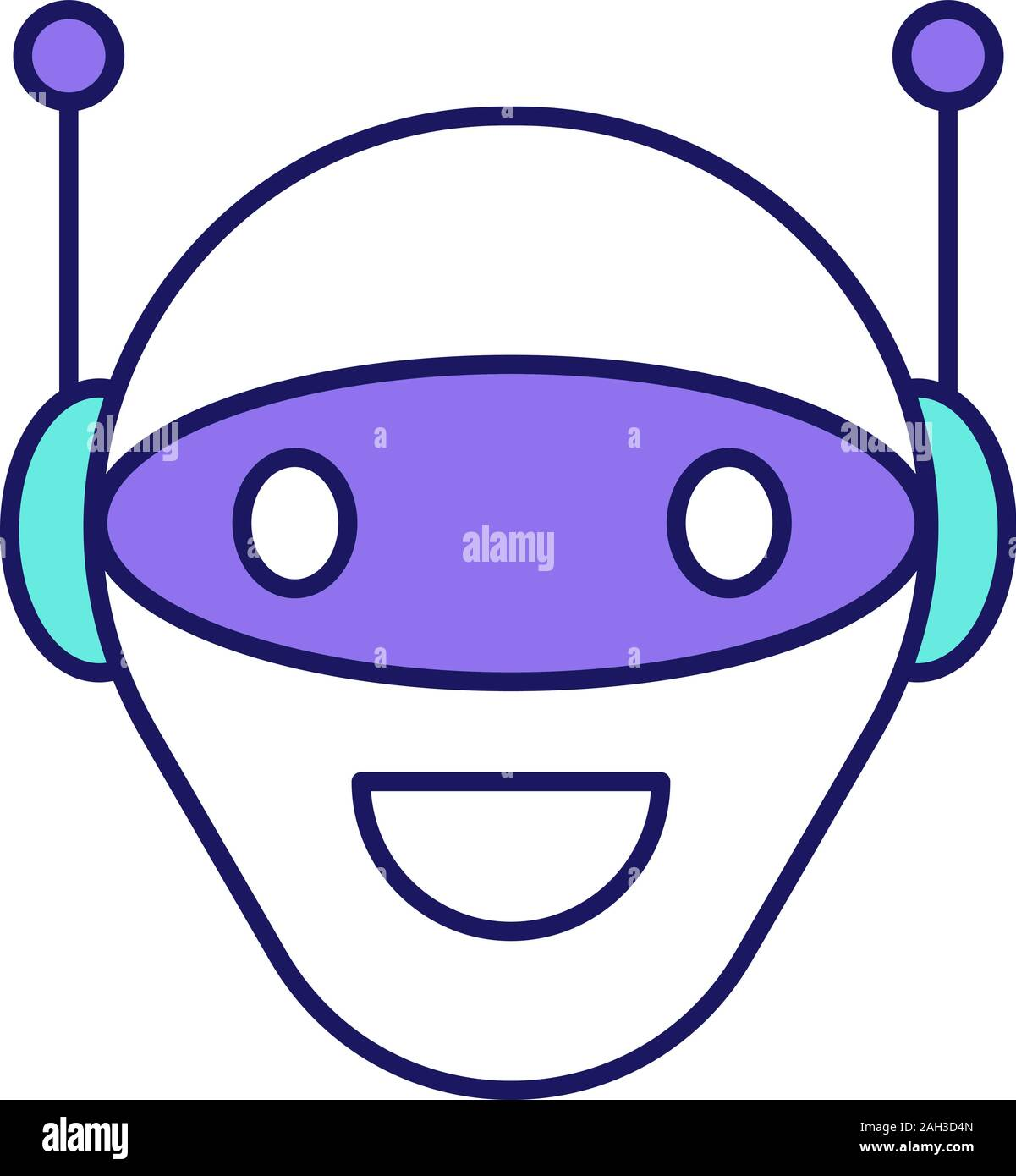 chatbot color icon talkbot modern robot android laughing chat bot virtual assistant conversational agent isolated vector illustration 2AH3D4N