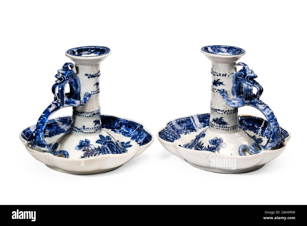 Antique Pair White Porcelain Bedtime Candlestick Holders Painted With Blue Patterns Vintage Candle Holder Stock Photo Alamy