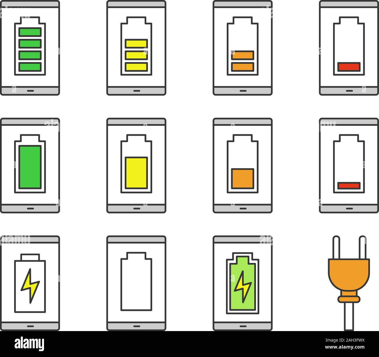 Smartphone Battery Charging Color Icons Set Mobile Phone Battery Level Indicator Middle Low And High Charge Isolated Vector Illustrations Stock Vector Image Art Alamy