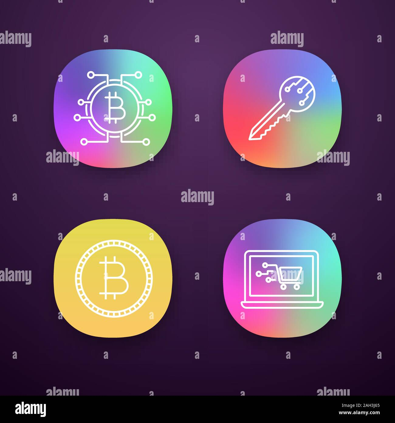 Bitcoin Cryptocurrency App Icons Set Ui Ux User Interface Digital Key Bitcoin With Microchip Pathway Coin Online Shopping Web Or Mobile Applicat Stock Vector Image Art Alamy