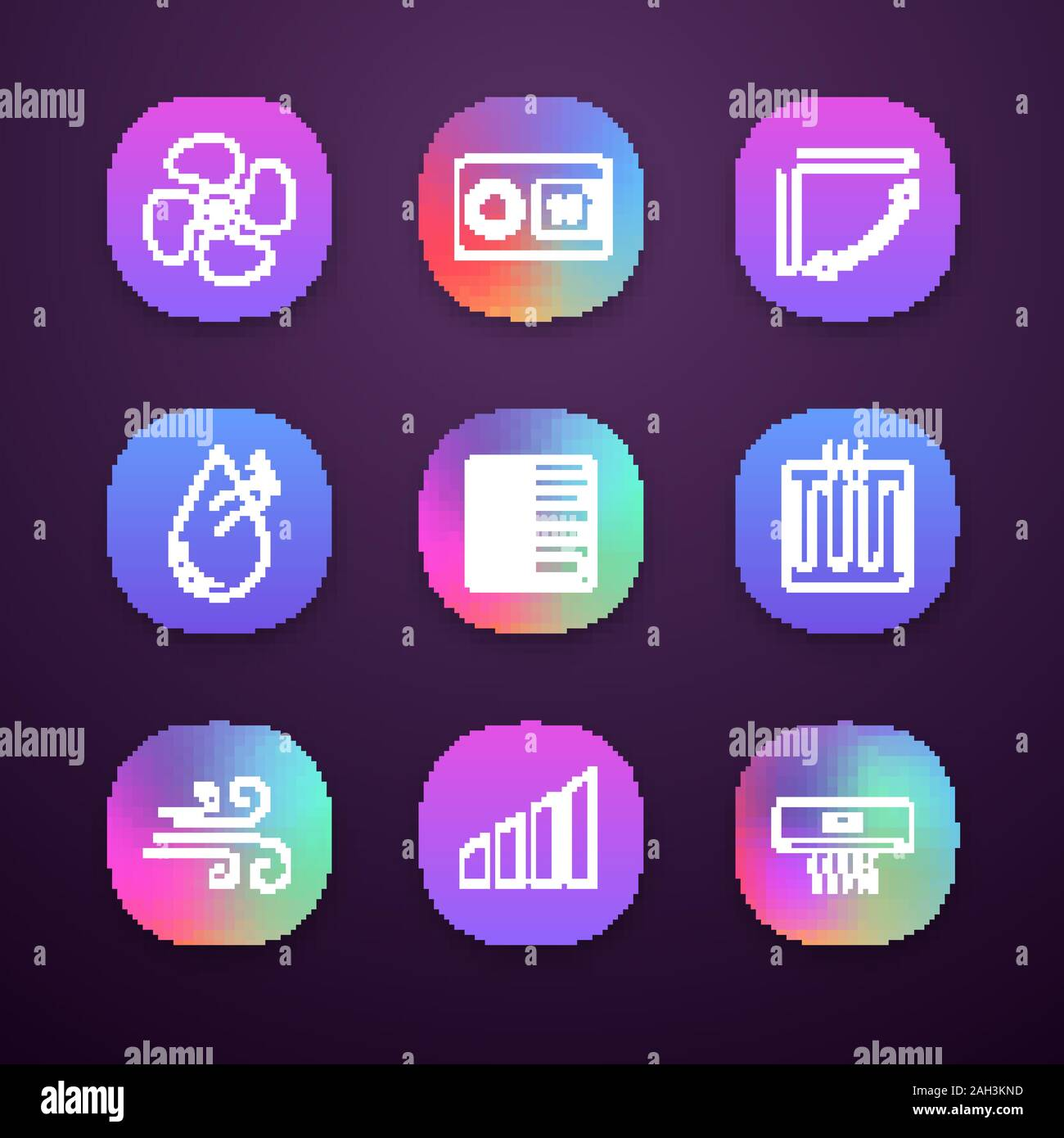 Air Conditioning App Icons Set Ui Ux User Interface Exhaust Fan Thermostat Louvers Humidification Floor Heating Heater Airflow Power Level A Stock Vector Image Art Alamy