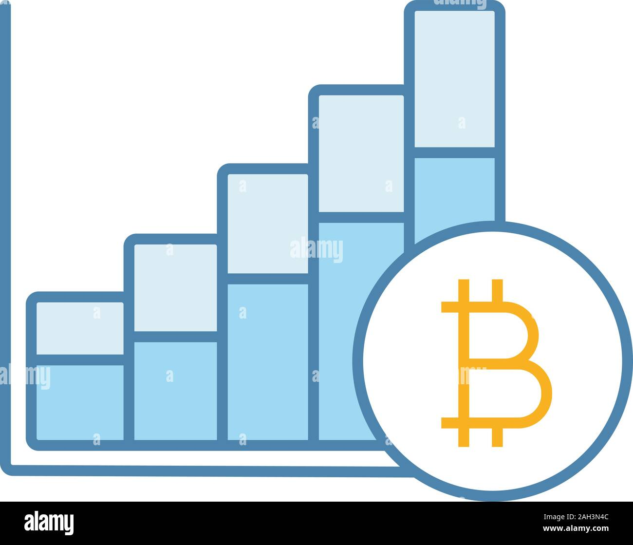 Bitcoin market growth chart color icon. Cryptocurrency prices rising. Statistics  diagram with bitcoin sign. Isolated vector illustration Stock Vector Image  & Art - Alamy