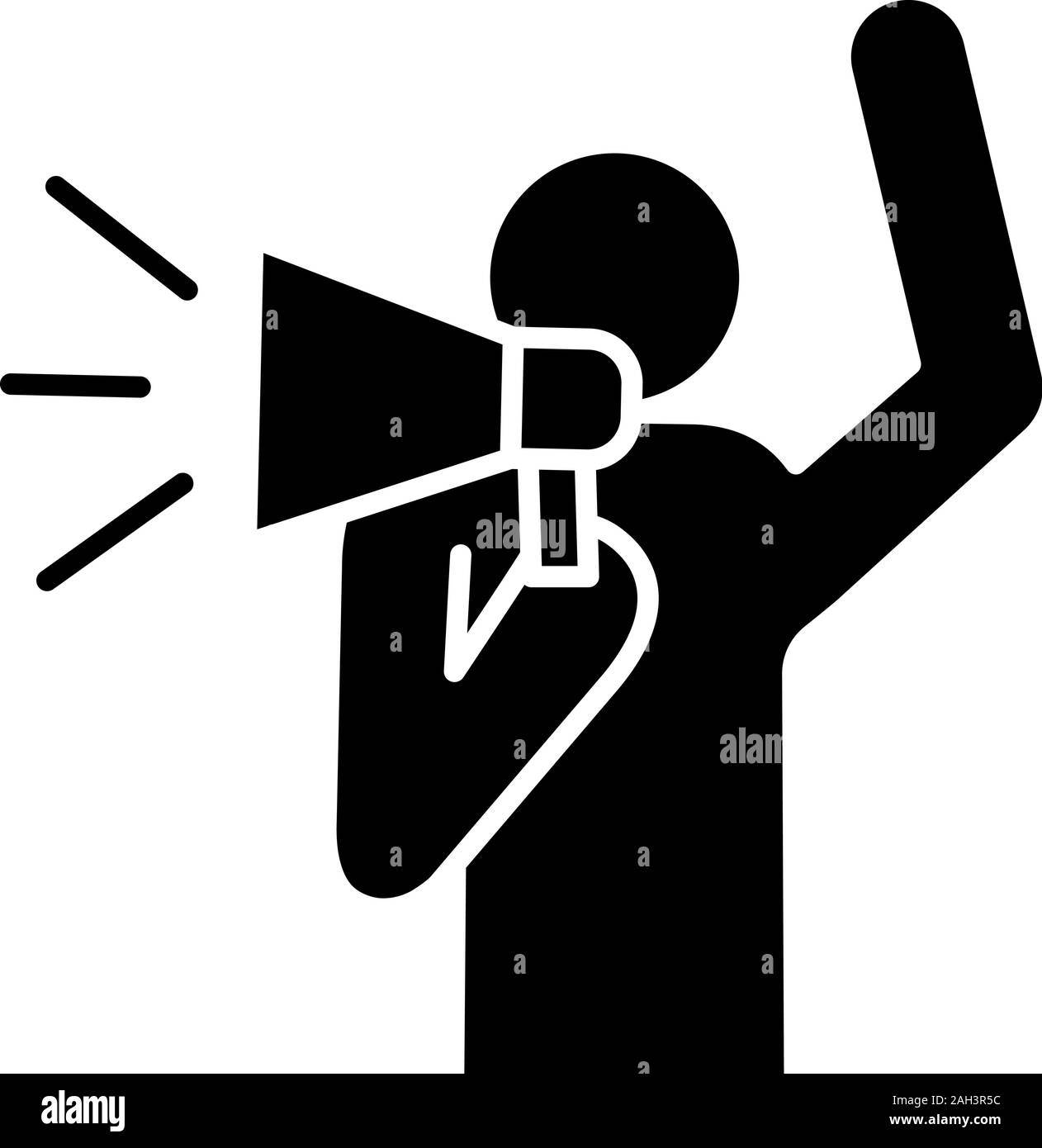 Protester glyph icon. Protest individual action. Breaking news. Protest speech. Man shouting slogans. Person holding megaphone. Silhouette symbol. Neg Stock Vector