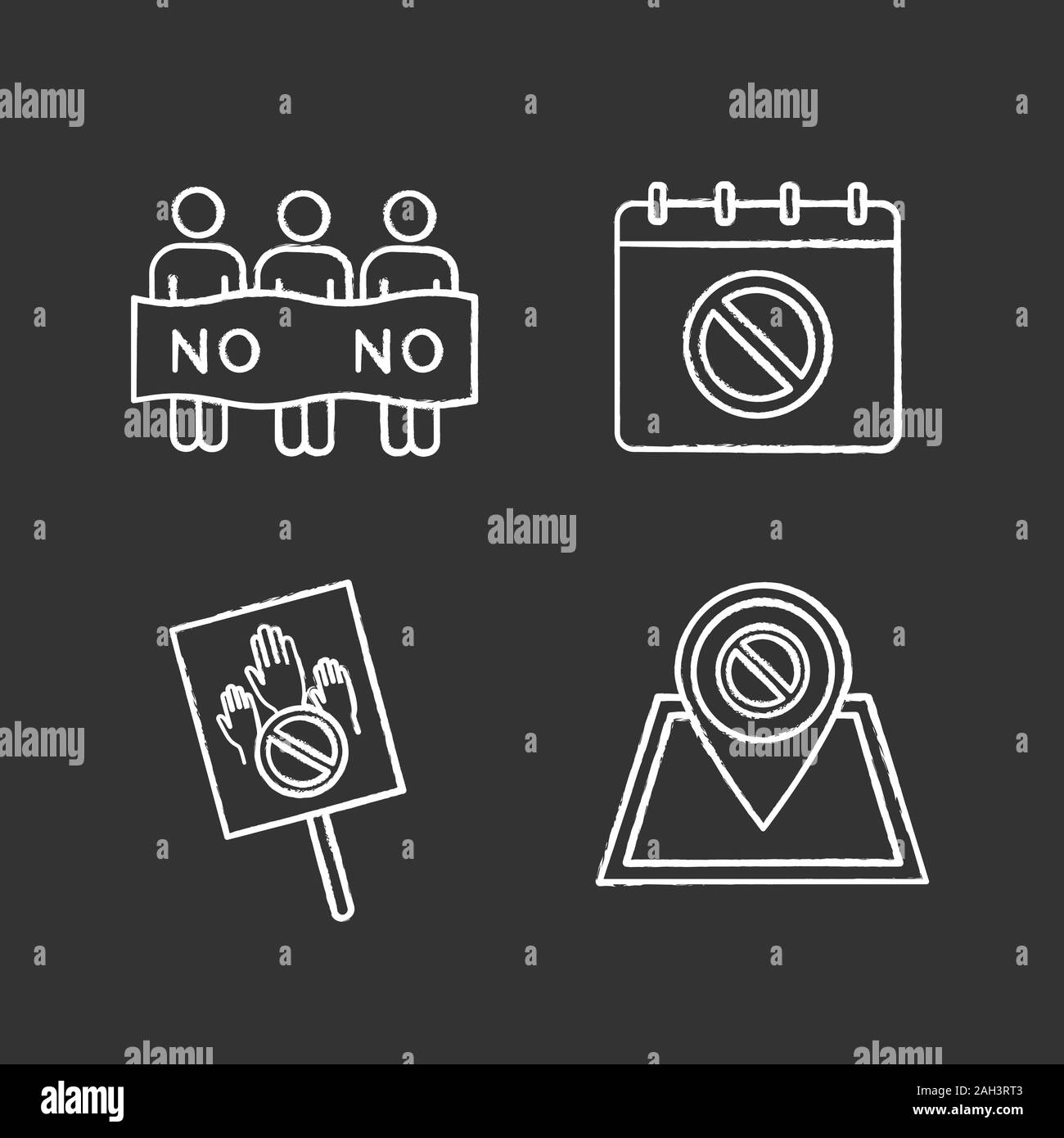 Protest action chalk icons set. Social movement date, protest location, banner, picket. Isolated vector chalkboard illustrations Stock Vector