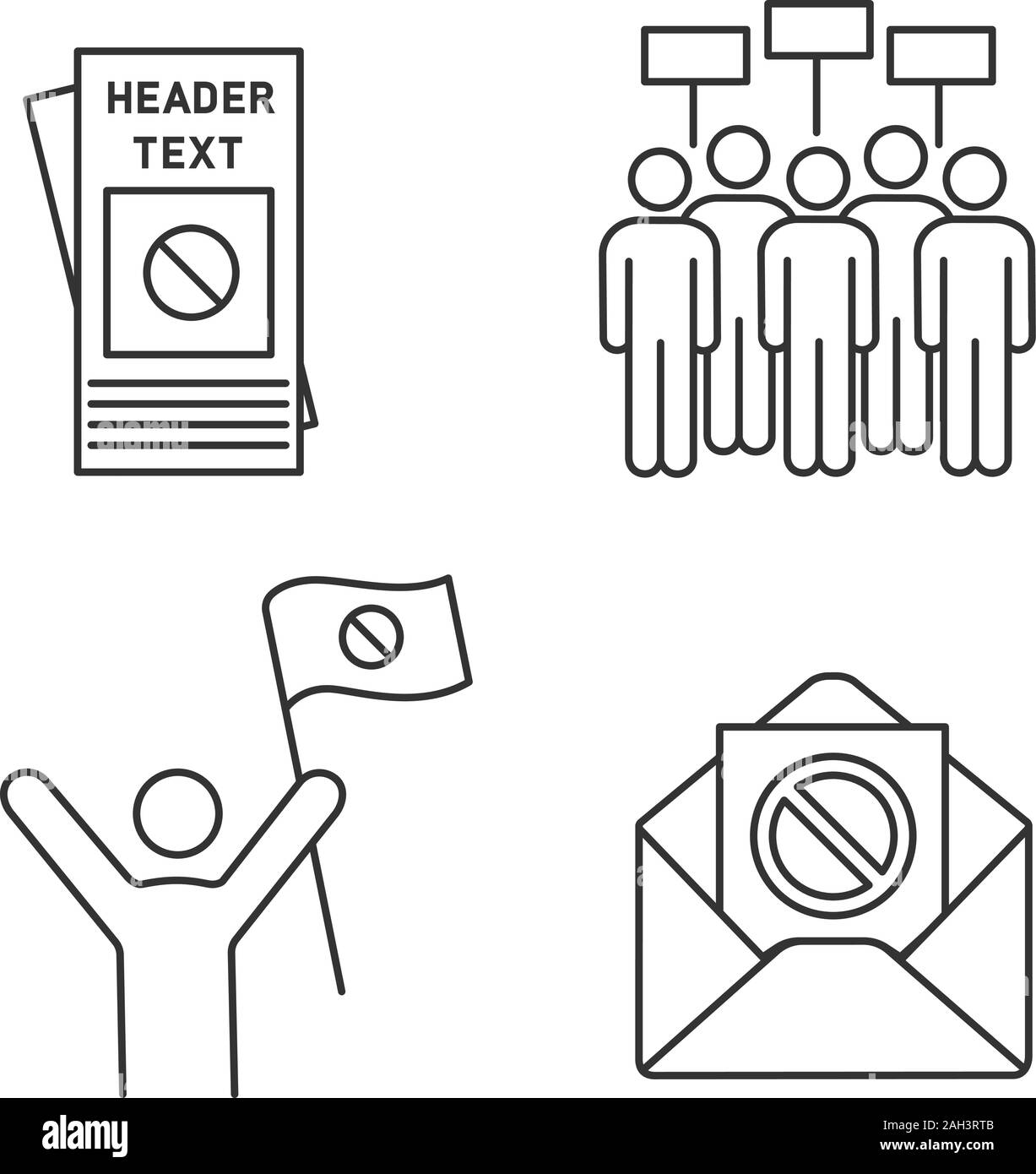 Protest action linear icons set. Protester, meeting, protest email, leaflet. Thin line contour symbols. Isolated vector outline illustrations. Editabl Stock Vector