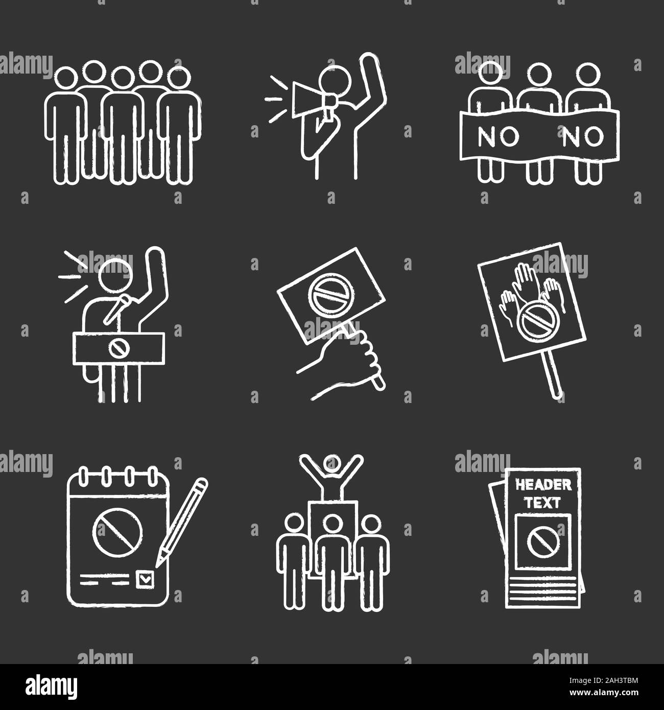 Protest action chalk icons set. Meeting, protester, picket, speech, banner, protest placard, petition, leader, leaflet. Isolated vector chalkboard ill Stock Vector