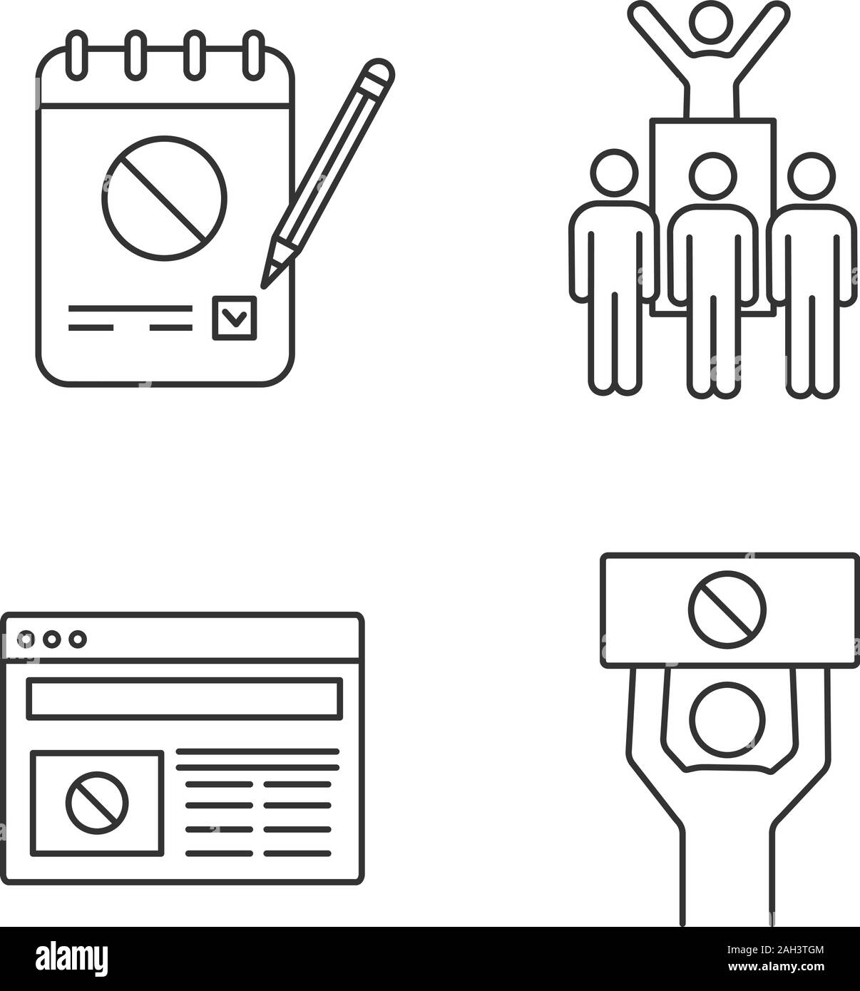 Protest action linear icons set. Petition, protest leader, social movement, political internet news. Thin line contour symbols. Isolated vector outlin Stock Vector