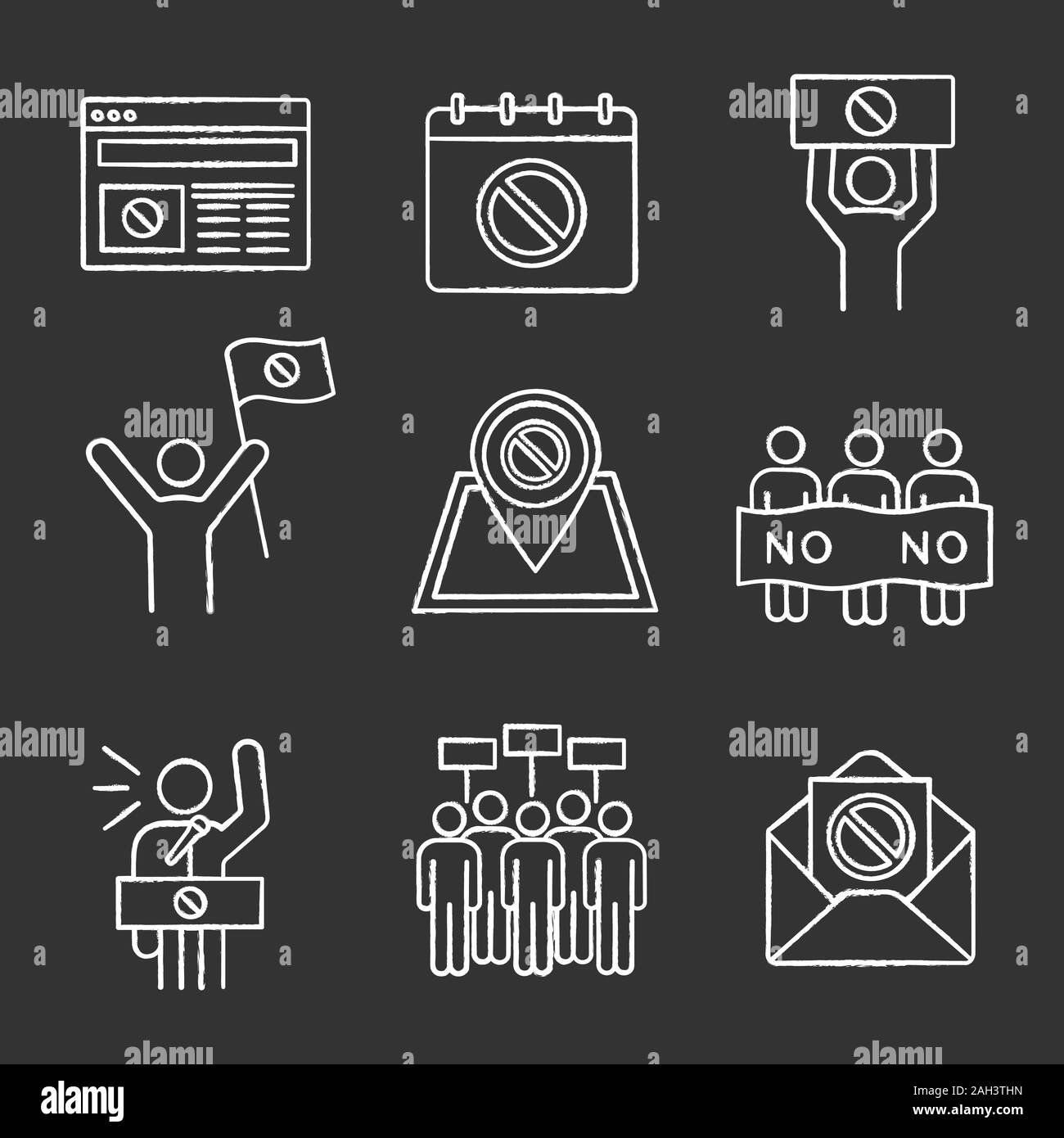 Protest action chalk icons set. Protest banner, date, protester, internet news, location, email, picket, strike, speech. Isolated vector chalkboard il Stock Vector