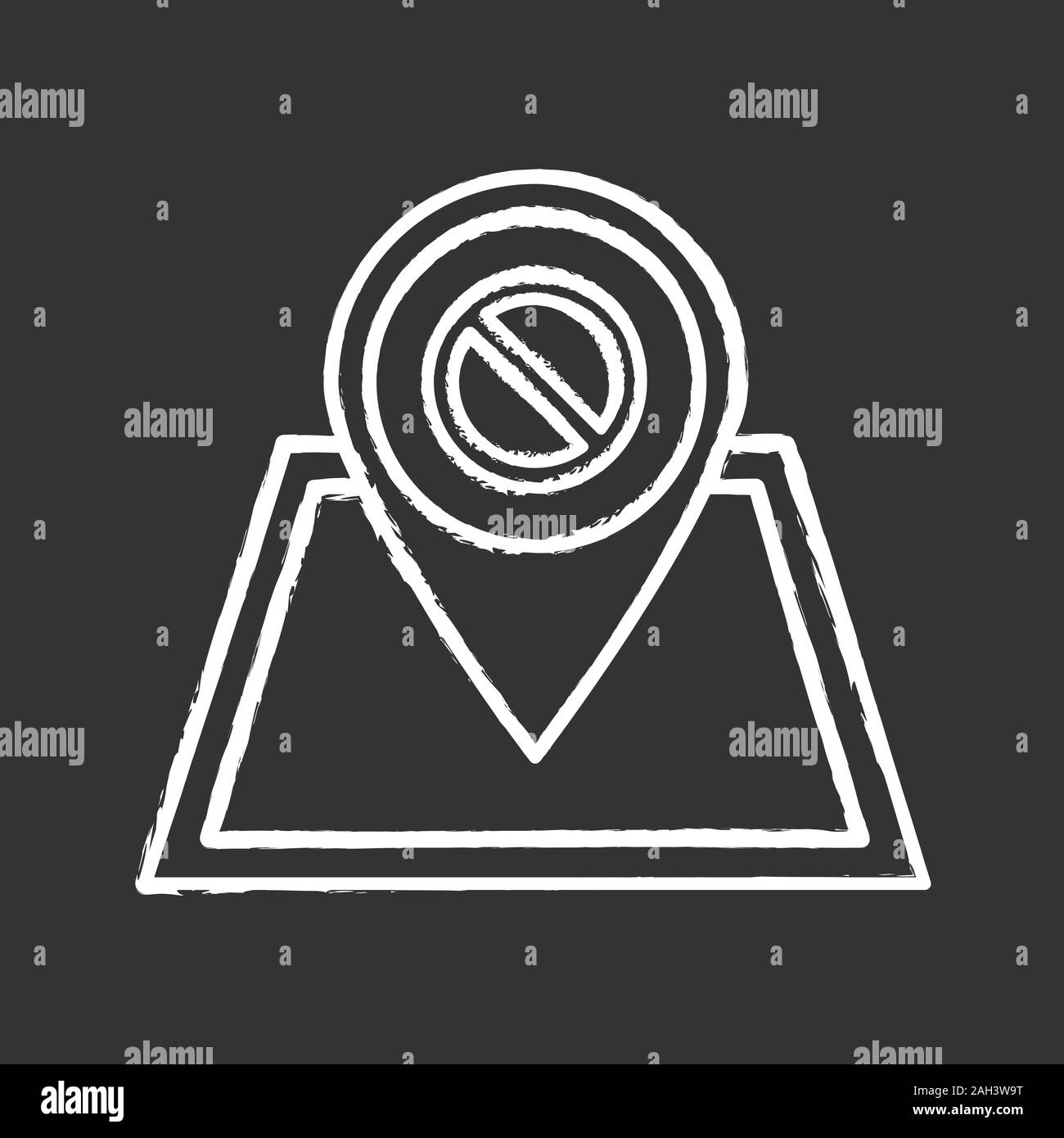 Protest location chalk icon. Demonstration beginning place. Political or social movement planning. Protesters gathering point. Isolated vector chalkbo Stock Vector