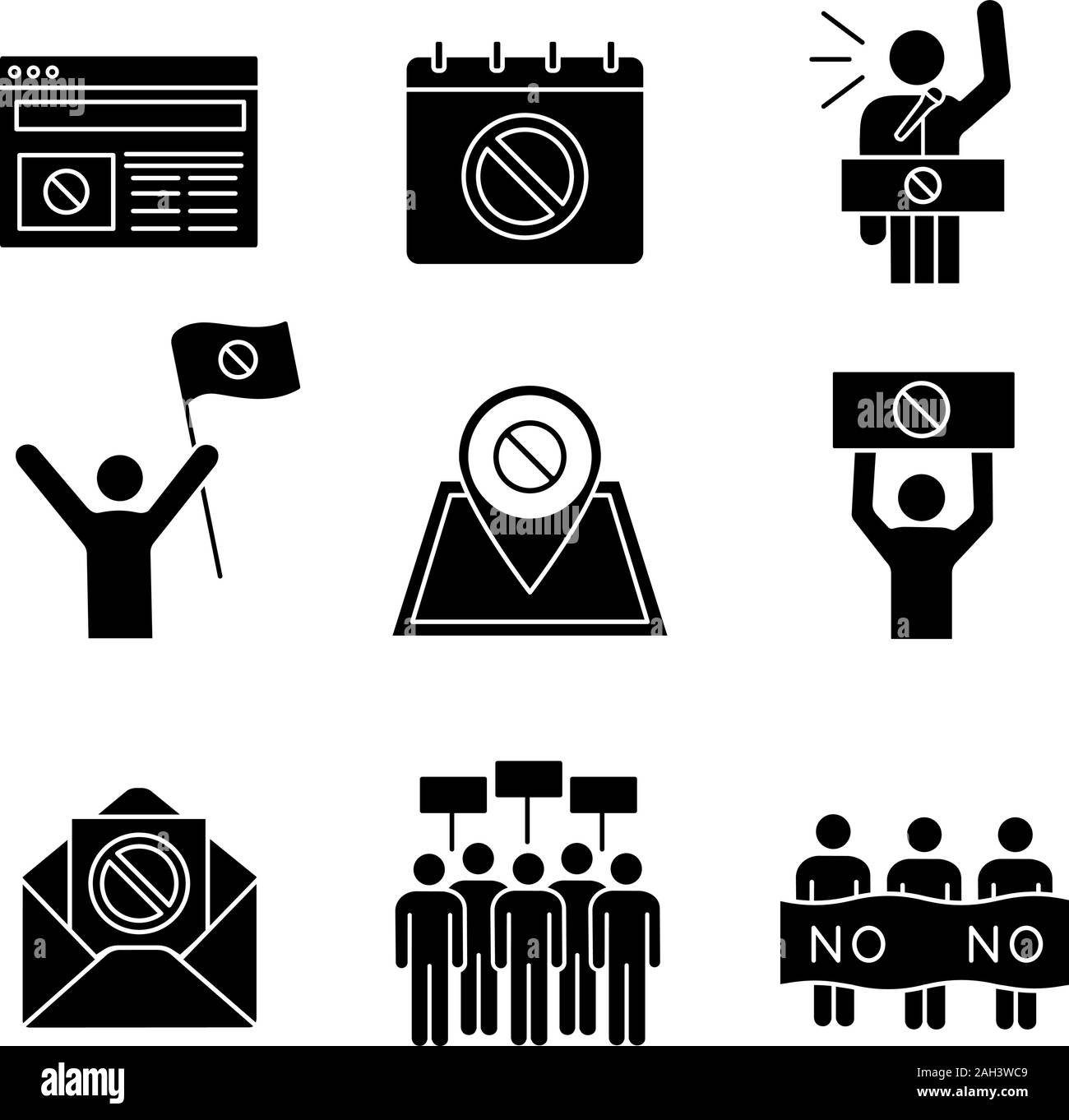 Protest action glyph icons set. Protest banner, date, protester, internet news, location, email, picket, strike, speech. Silhouette symbols. Vector is Stock Vector