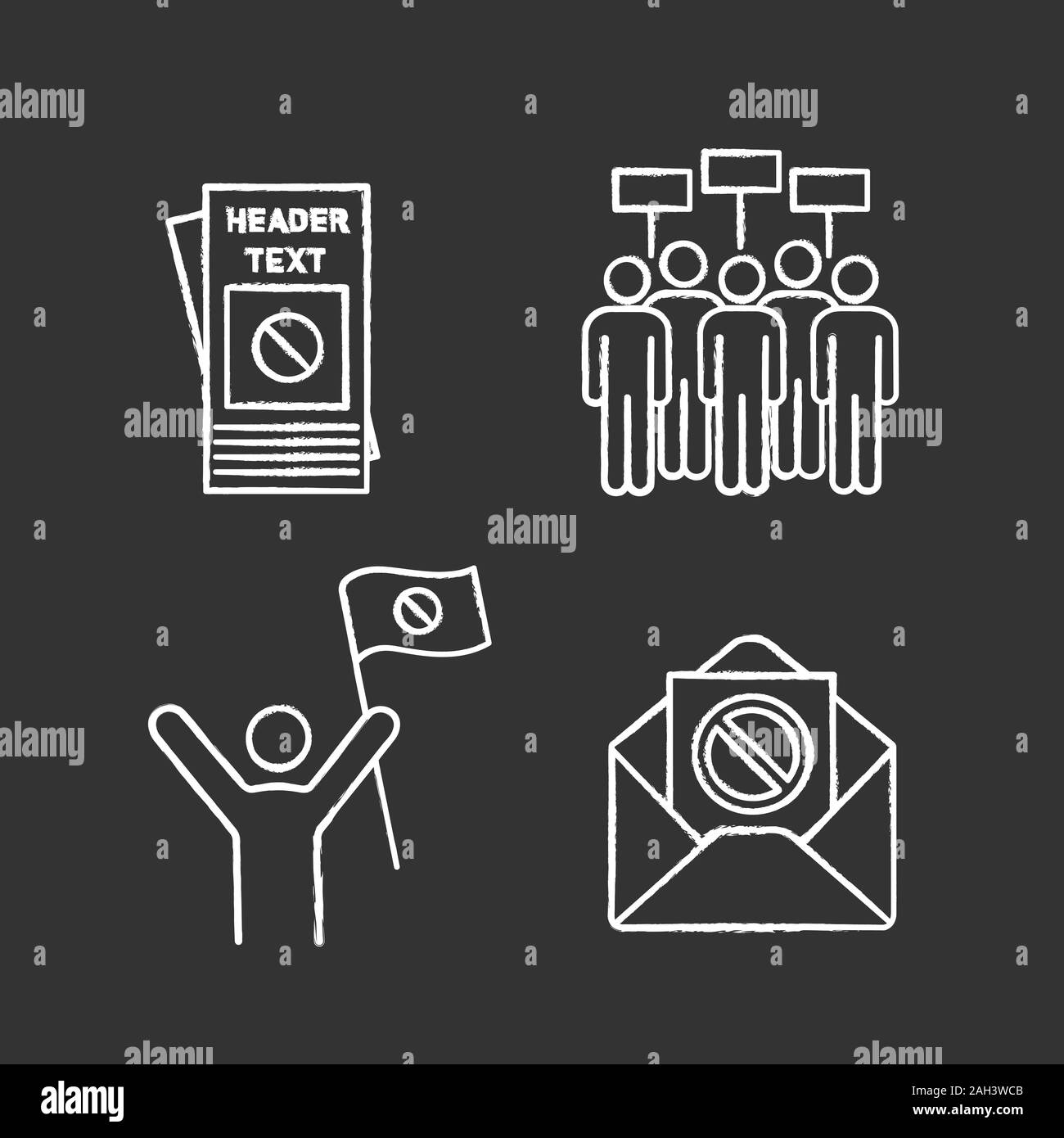 Protest action chalk icons set. Protester, meeting, protest email, leaflet. Isolated vector chalkboard illustrations Stock Vector
