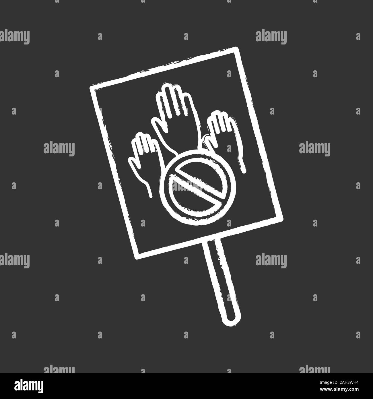 Protest banner chalk icon. Protest vote. Abstention. Anti-voting. Political or social movement. Political behaviour. Isolated vector chalkboard illust Stock Vector