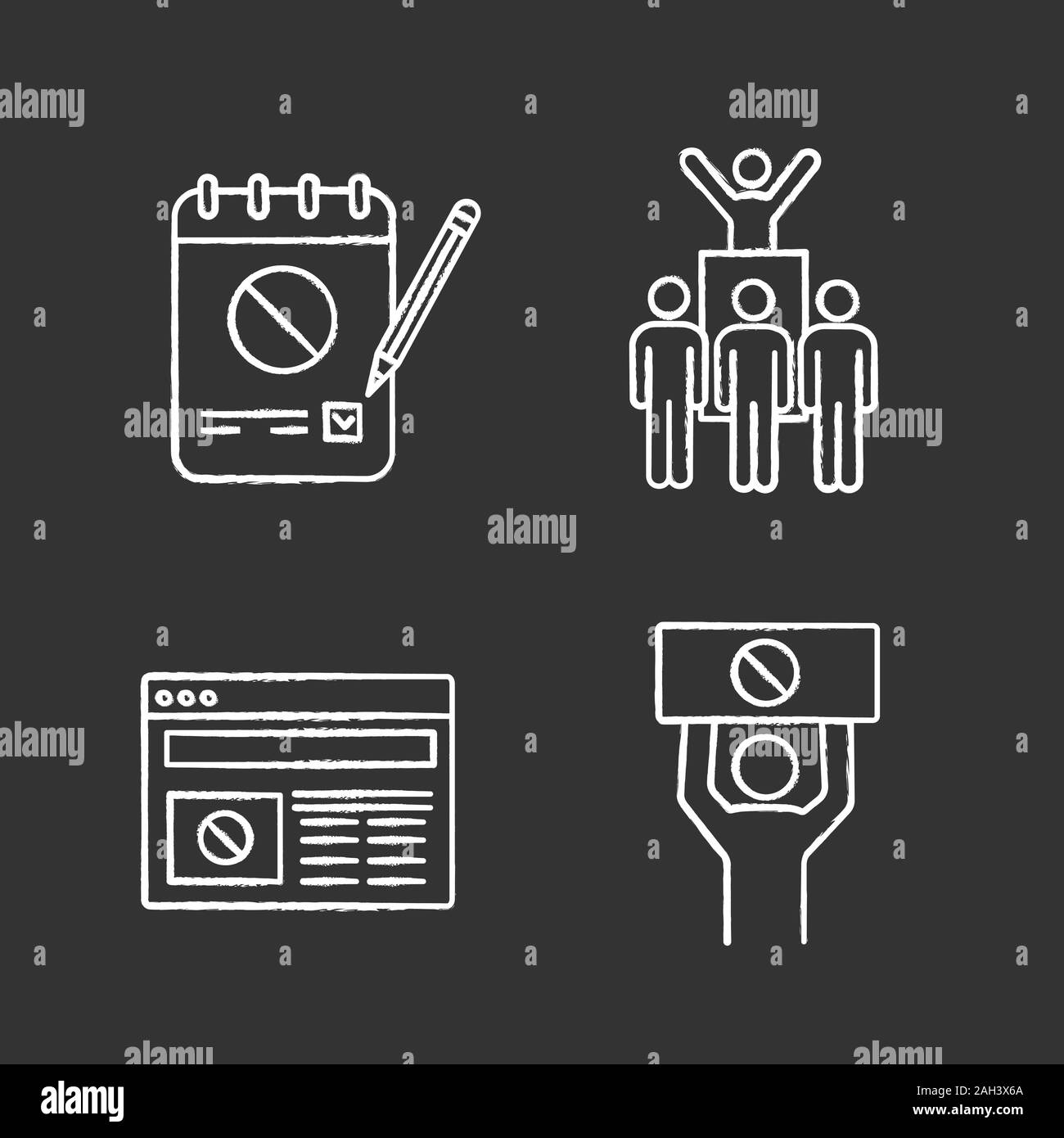 Protest action chalk icons set. Petition, protest leader, social movement, political internet news. Isolated vector chalkboard illustrations Stock Vector
