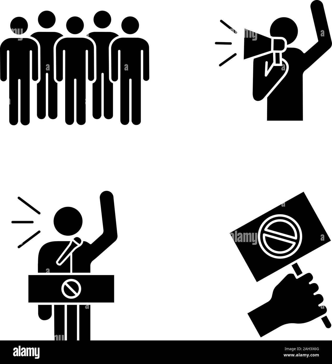 Protest action glyph icons set. Meeting, protester, protest banner, speech. Silhouette symbols. Vector isolated illustration Stock Vector