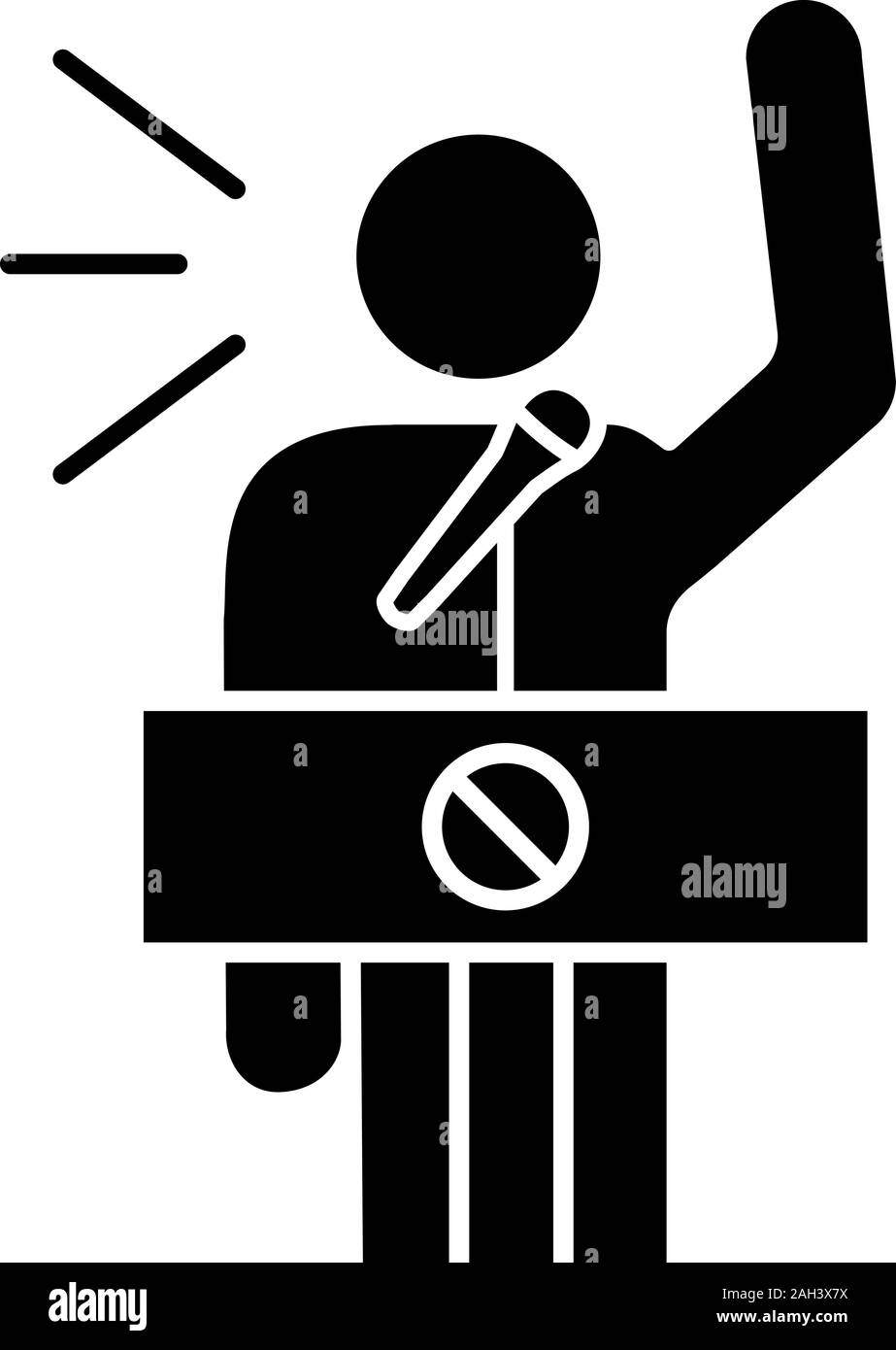 Protester speech glyph icon. Political protest. Political or social movement participant. Protest leader. Person shouting slogans. Silhouette symbol. Stock Vector
