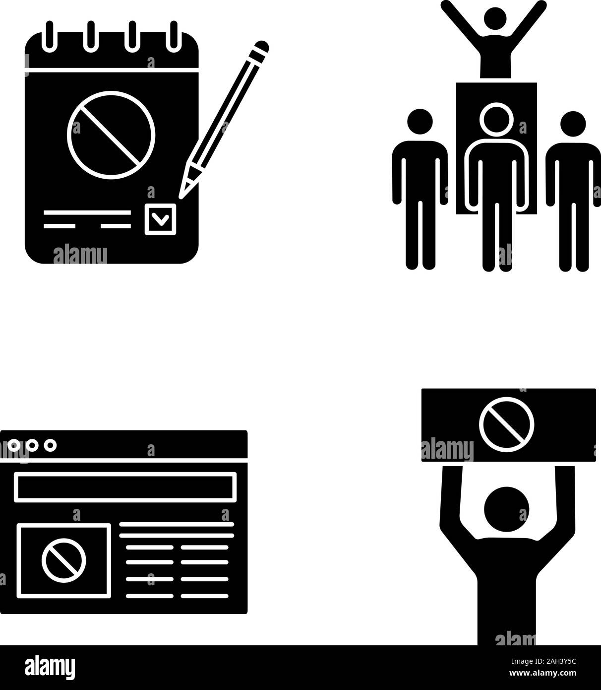 Protest action glyph icons set. Petition, protest leader, social movement, political internet news. Silhouette symbols. Vector isolated illustration Stock Vector