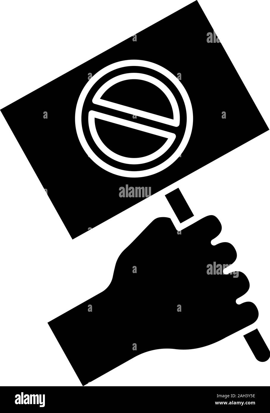 Protest banner in hand glyph icon. Protester'€™s or activist'€™s hand. Demonstration, meeting. Protest placard. Social and political movement. Silhoue Stock Vector