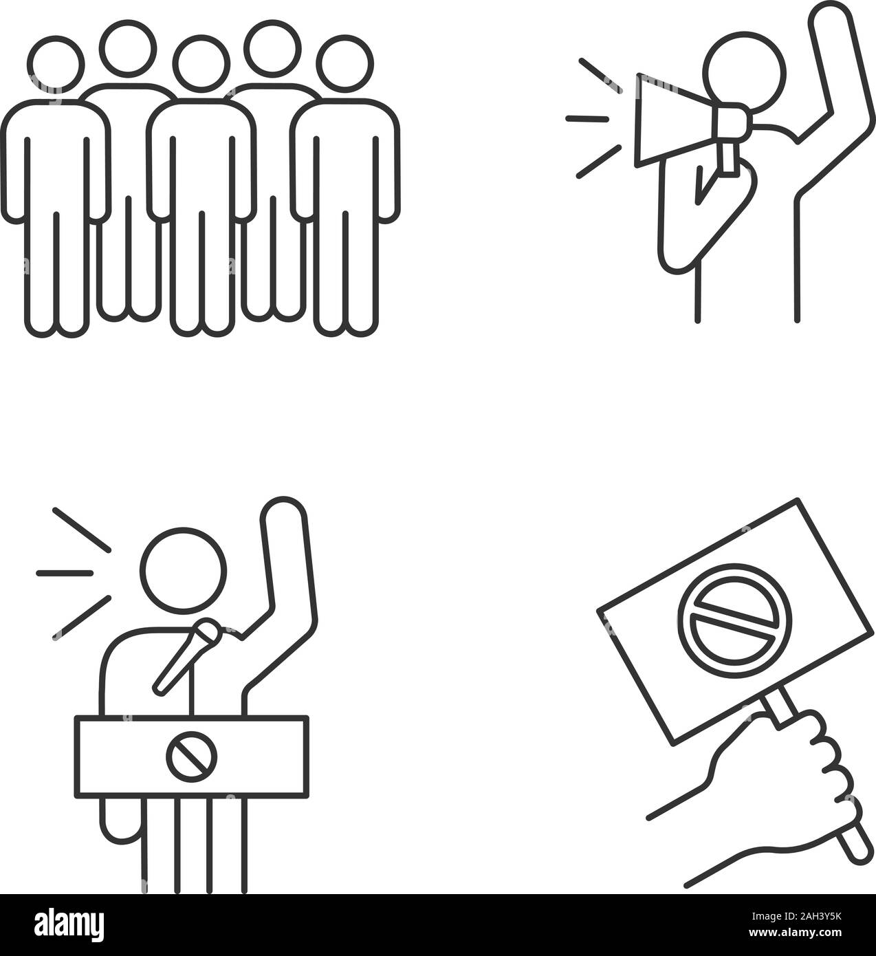 Protest action linear icons set. Meeting, protester, protest banner, speech. Thin line contour symbols. Isolated vector outline illustrations. Editabl Stock Vector