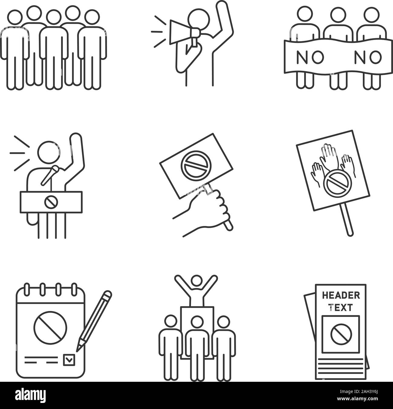 Protest action linear icons set. Meeting, protester, picket, speech, banner, protest placard, petition, leader, leaflet. Thin line symbols. Isolated v Stock Vector