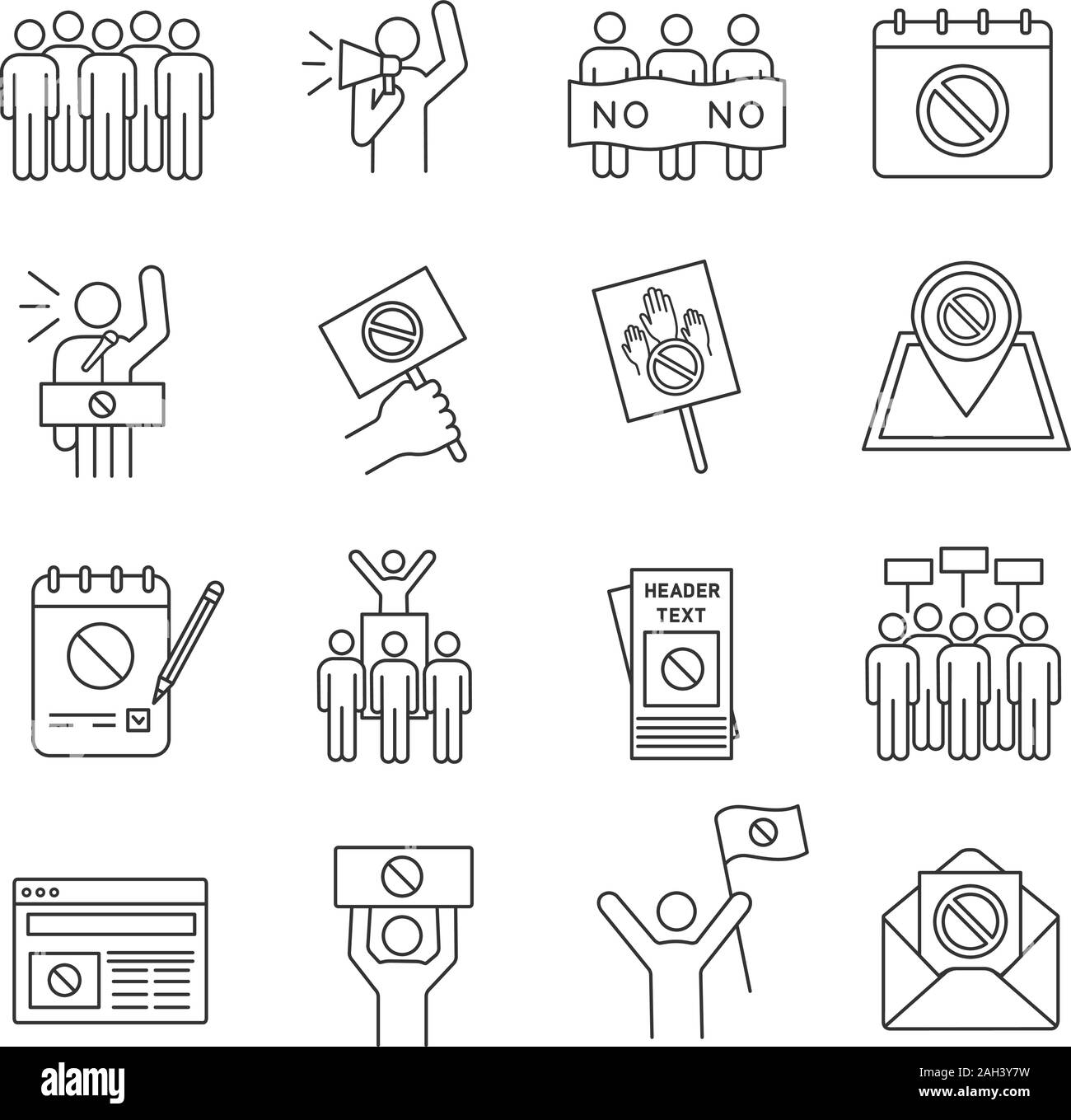 Protest action linear icons set. Political behaviour. Social and political movements. Democracy, rights protection. Thin line contour symbols. Isolate Stock Vector