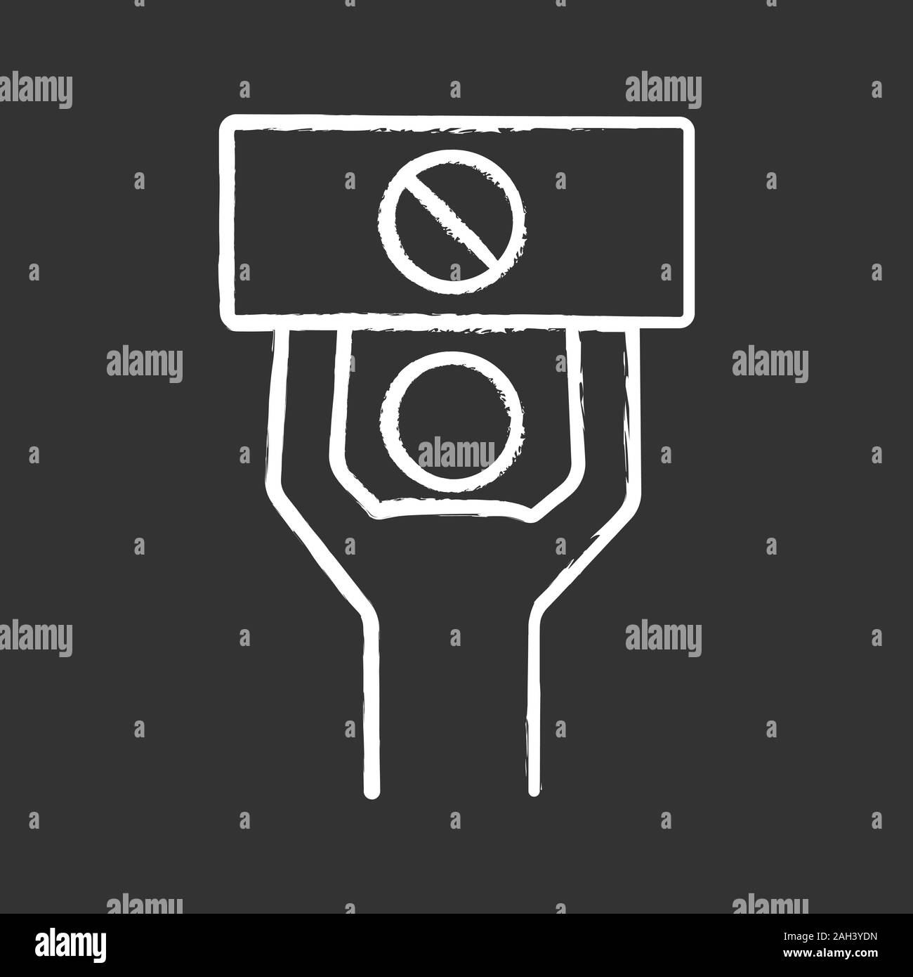 Protester chalk icon. Protest event. Social or political movement. Person holding protest banner. Human rights protection. Contentious action. Isolate Stock Vector