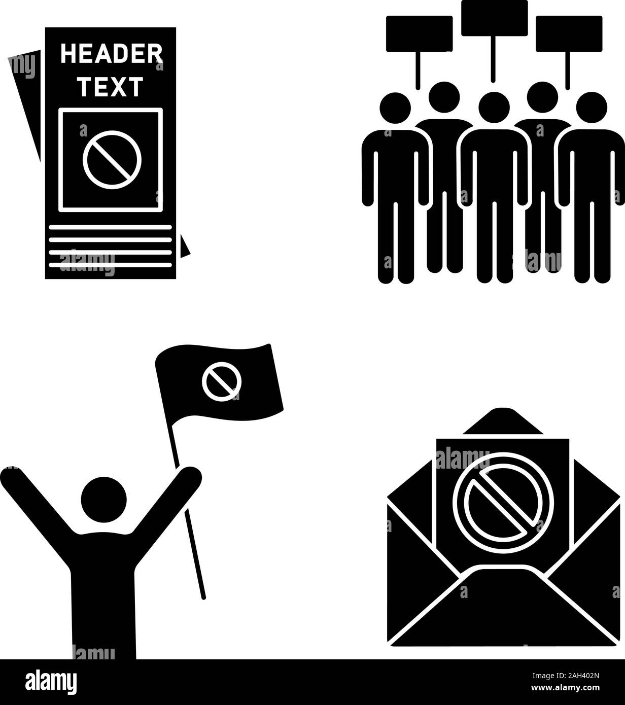 Protest action glyph icons set. Protester, meeting, protest email, leaflet. Silhouette symbols. Vector isolated illustration Stock Vector