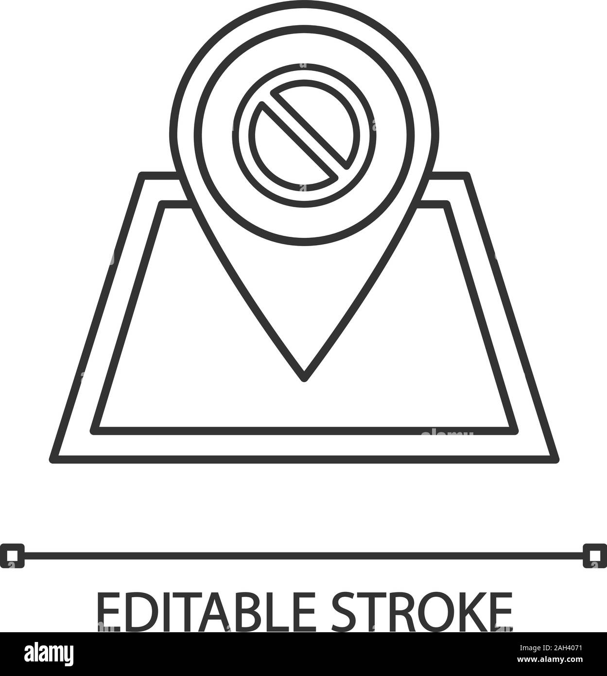 Protest location linear icon. Demonstration beginning place. Thin line illustration. Political or social movement planning. Protesters gathering point Stock Vector