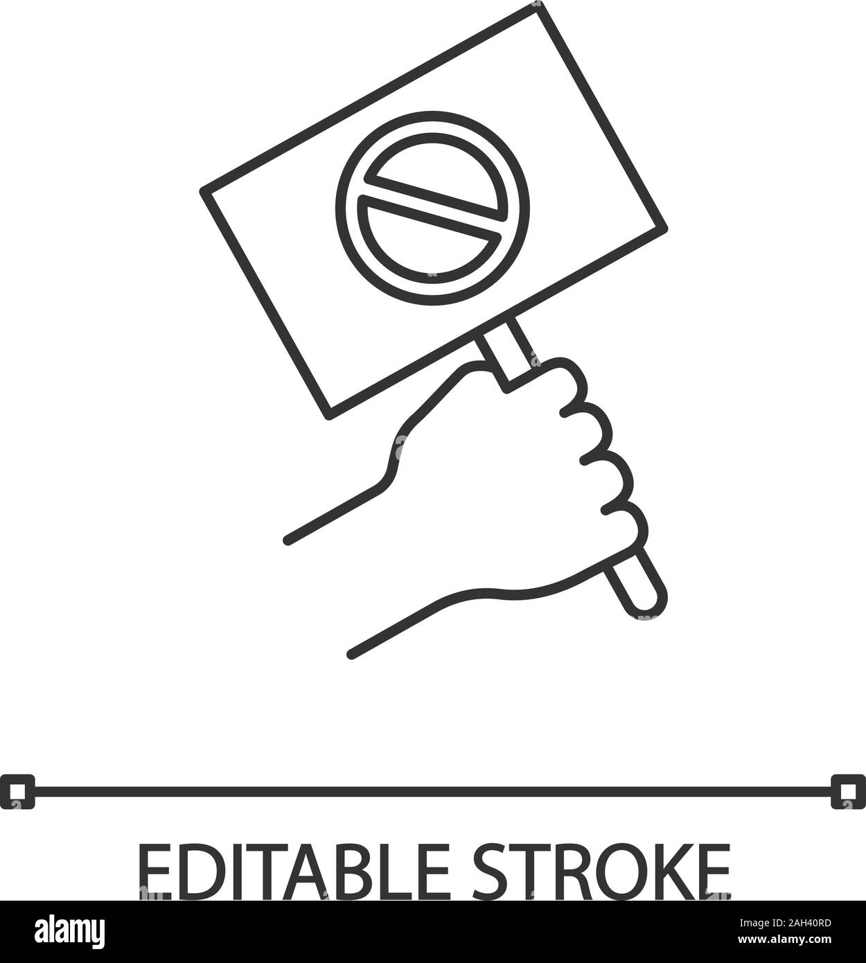 Protest banner in hand linear icon. Protester's or activist's hand. Thin line illustration. Demonstration, meeting. Protest placard. Contour symbol. V Stock Vector