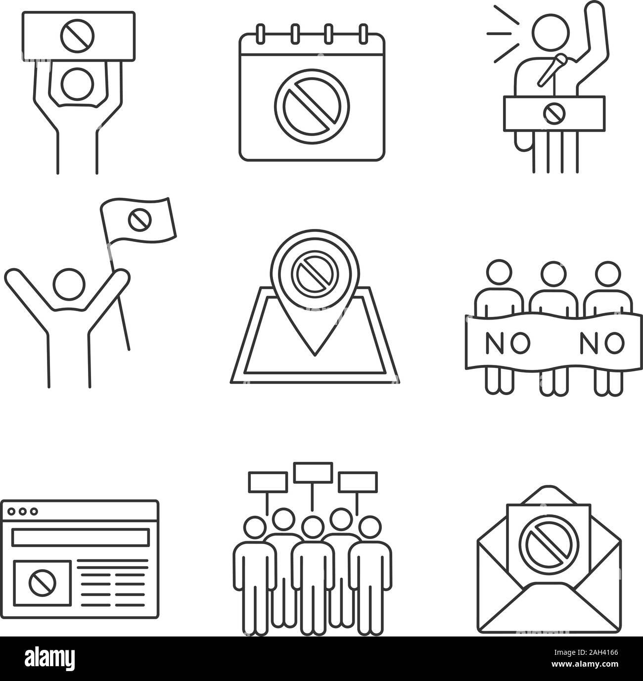 Protest action linear icons set. Protest banner, date, protester, internet news, location, email, picket, strike, speech. Thin line symbols. Isolated Stock Vector
