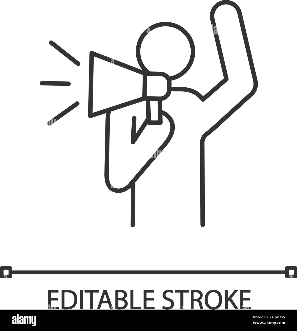 Protester linear icon. Protest individual action. Thin line illustration. Breaking news. Protest speech. Man shouting slogan. Person holding megaphone Stock Vector