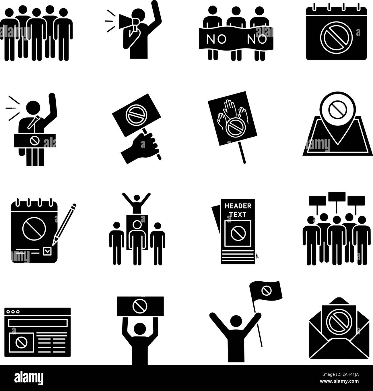 Protest action glyph icons set. Mass demonstrations. Political behaviour. Social and political movements. Democracy and human rights protection. Silho Stock Vector