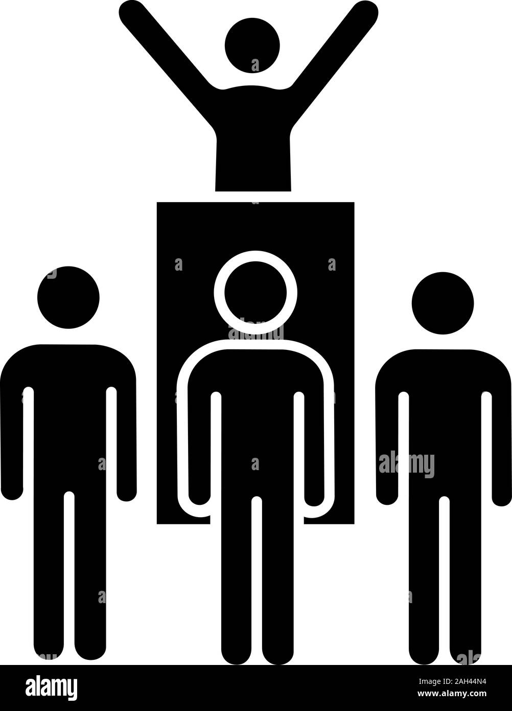 Protest leader glyph icon. Revolution. Protest collective actions. Political behaviour. Political speech. Social movement. Protesters. Silhouette symb Stock Vector