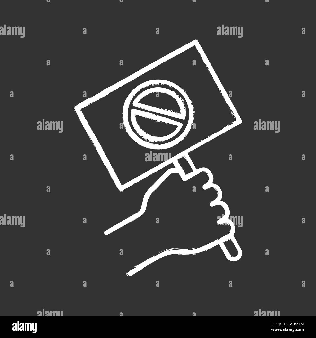Protest banner in hand chalk icon. Protester's or activist's hand. Demonstration, meeting. Protest placard. Social and political movement participant. Stock Vector