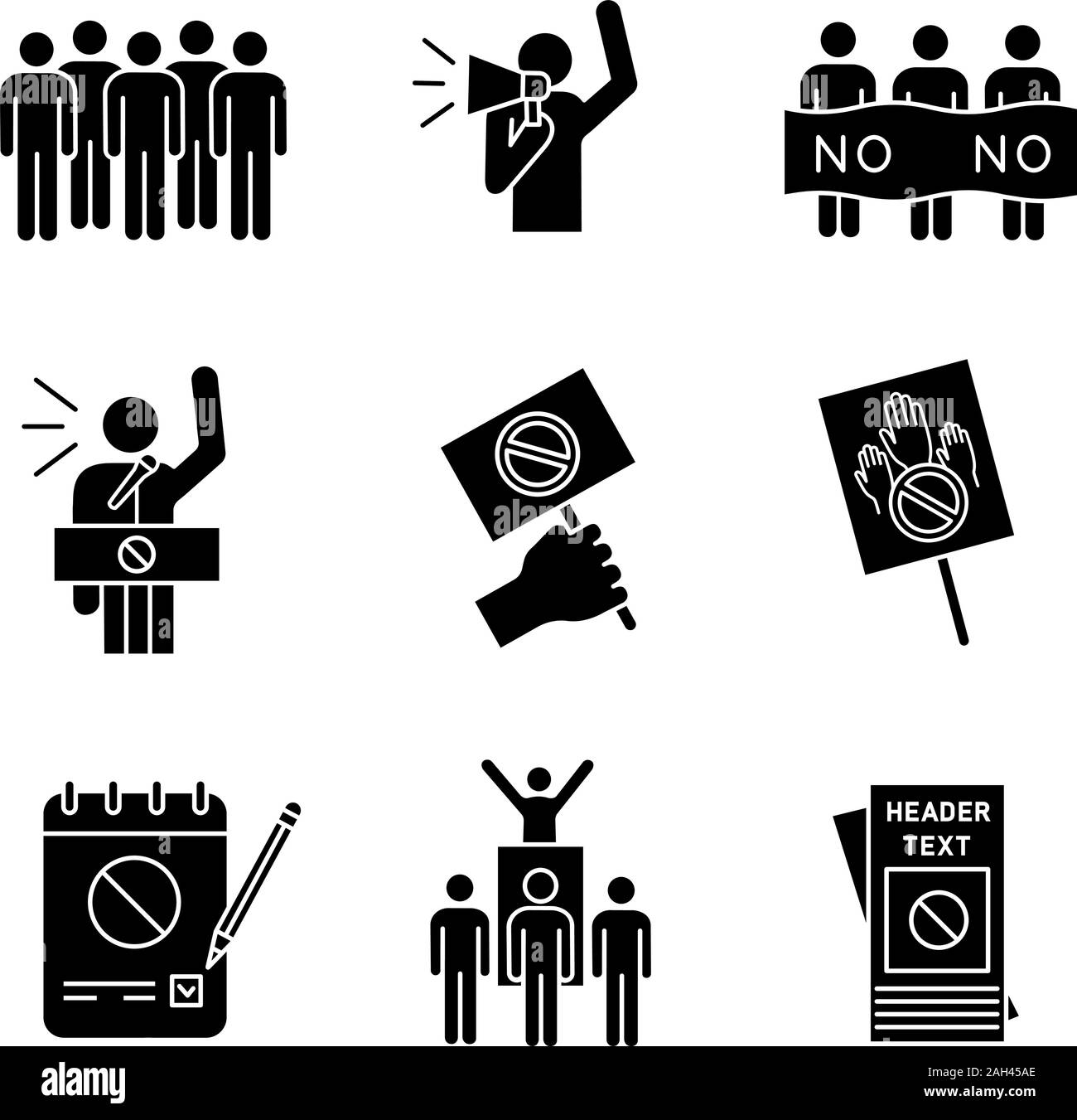 Protest action glyph icons set. Meeting, protester, picket, speech, banner, protest placard, petition, leader, leaflet. Silhouette symbols. Vector iso Stock Vector