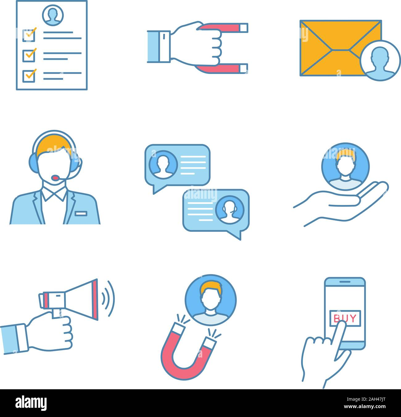 Customer Retention And Loyalty Color Icons Set Survey Client Attraction Target Mailing Call Center Support Chat Customer Service Advertising P Stock Vector Image Art Alamy