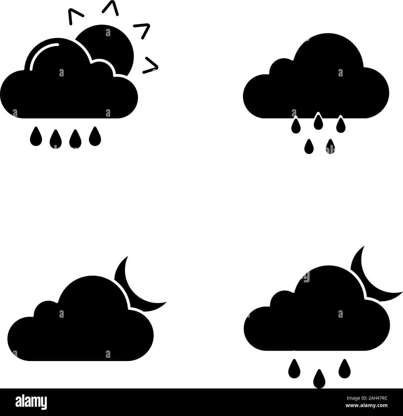 Weather Forecast Glyph Icons Set Rain With Sun Rainy Weather Cloudy Night Drizzle And Scattered Shower Silhouette Symbols Vector Isolated Illust Stock Vector Image Art Alamy