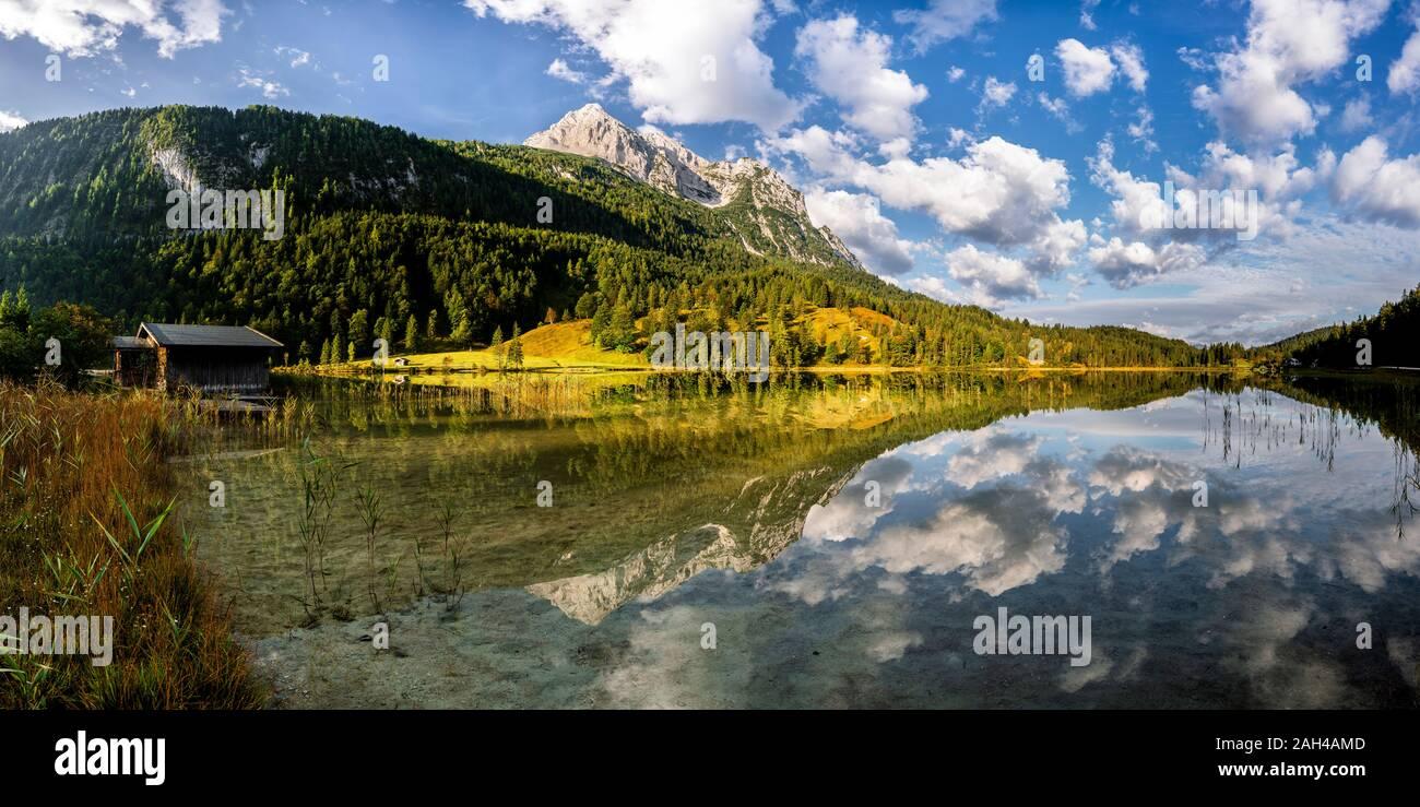 Germany, Bavaria, Scenic view of shiny Ferchensee lake Stock Photo